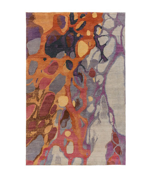 6' x 9' Abstract Purple and Orange Hand Knotted Rectangular Wool Area Throw Rug - IMAGE 1
