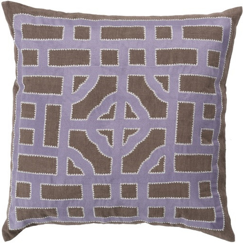 "18"" Brown and Purple Throw Pillow - Down Filler - IMAGE 1"