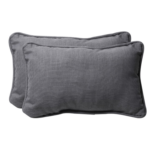 Set of 2 Gray Rectangular Outdoor Corded Throw Pillows 18.5-Inch - IMAGE 1