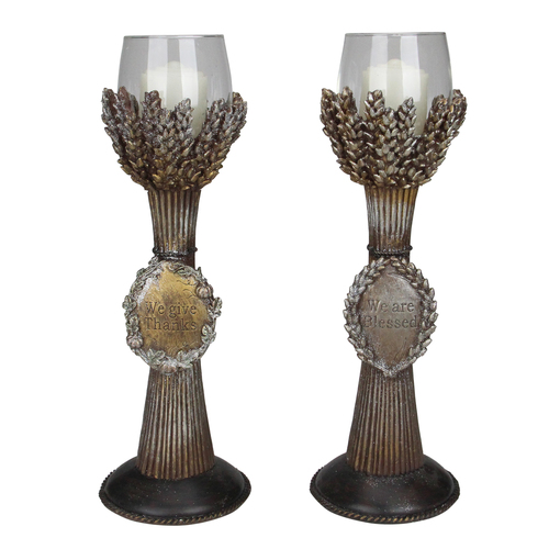 """Set of 2 Brown and Clear Blessed Thanksgiving Votive Candleholders 12.5"""" - IMAGE 1"""