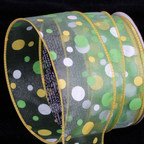 """Green and White Tuffts Polka Dot Wired Craft Ribbons 2"""" x 40 yards - IMAGE 1"""