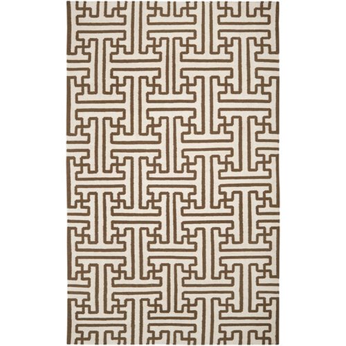 9' x 13' Winter White and Brown Wool Area Throw Rug - IMAGE 1