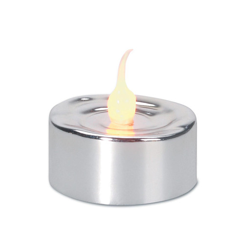 Set of 3 Silver LED Lighted Flickering Flame Tea Light Candles - IMAGE 1