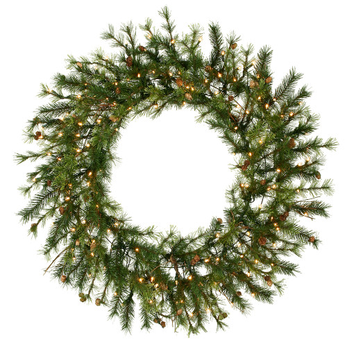 Pre-Lit Mixed Country Pine Commercial Christmas Wreath - 60-Inch, Clear Lights - IMAGE 1