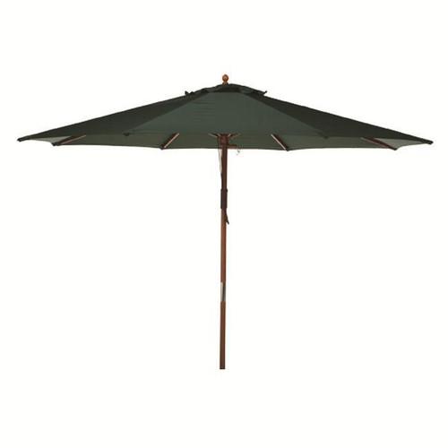 9' Hunter Green Wooden Outdoor Patio Umbrella - IMAGE 1