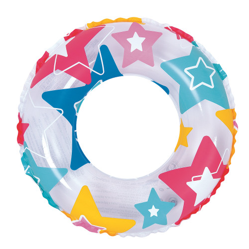 Inflatable Vibrantly Colored Star Swimming Pool Inner Tube Ring Float, 24-Inch - IMAGE 1