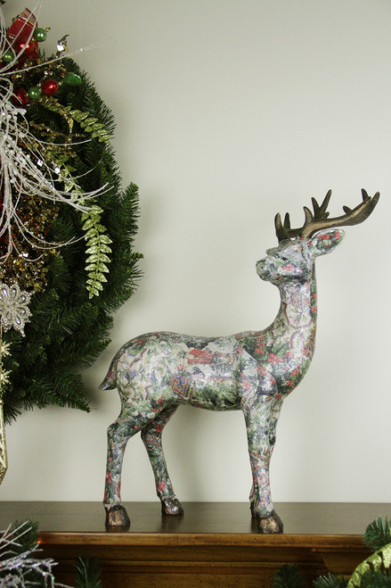 "19"" Victorian Holly Berry Decoupage Stag Deer Reindeer with Turned Head Table Top Decoration - IMAGE 1"