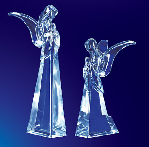 "Pack of 4 Clear Icy Crystal Religious Christmas Butterfly Angel Figurines 7.5"" - IMAGE 1"
