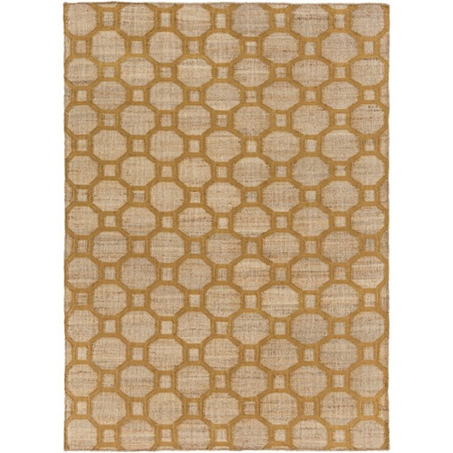 5' x 7.5' Destiny Rings Mocha Brown and Honey Gold Hand Woven Area Throw Rug - IMAGE 1