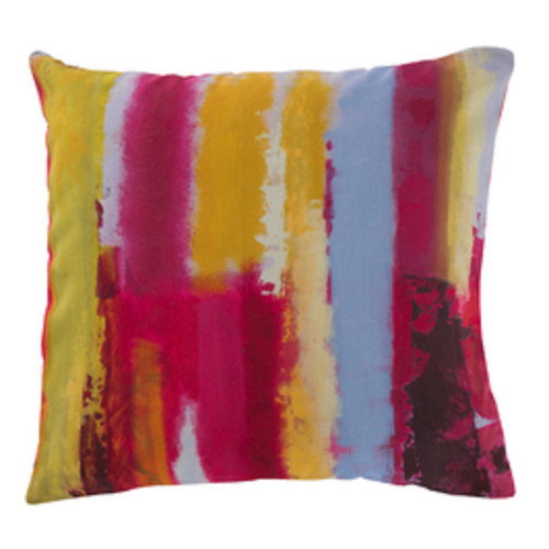 "20"" Red and Yellow Splash Striped Square Throw Pillow Cover - IMAGE 1"