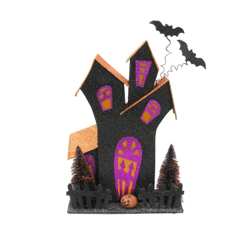 """12"""" Black and Orange LED Lighted Glitter Drenched Halloween Haunted House Tabletop Decor - IMAGE 1"""