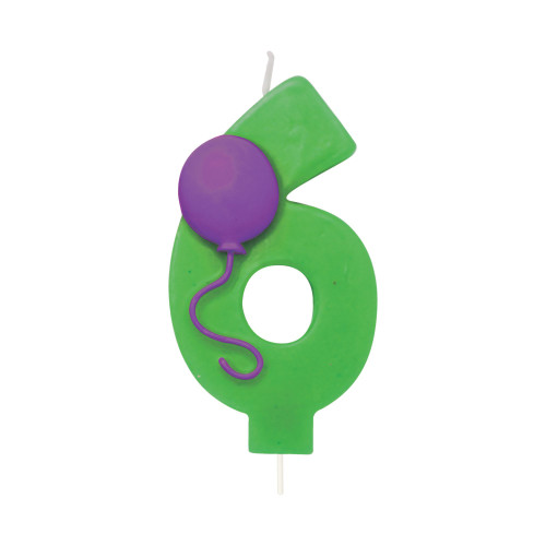 """Club Pack of 12 Green and Purple Molded Numeral """"6"""" with Balloon Birthday Party Candles 3.5"""" - IMAGE 1"""