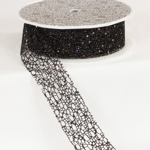 "Shimmering Black Glittered Web Craft Ribbon 1.5"" x 54 Yards - IMAGE 1"