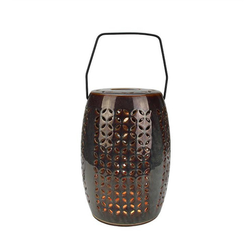 "10.25"" Decorative Chestnut Brown Bellaroma Crescent Cut-Out Ceramic Candle Warmer Lantern - IMAGE 1"