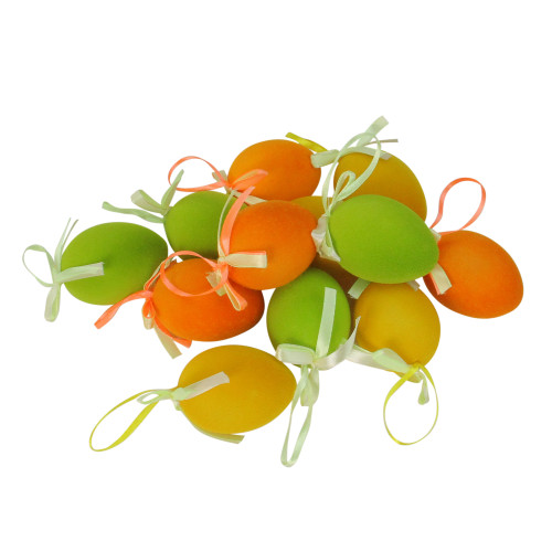 """Club Pack of 12 Orange and Green Spring Easter Egg Ornaments 2.5"""" - IMAGE 1"""