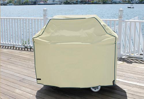 Durable Outdoor Patio Full Vinyl Premium Gas Grill Cover - Khaki - IMAGE 1