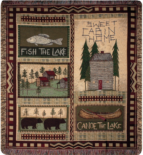 """Log Cabin Pictorial Woven Fringed Throw Blanket 60"""" x 50"""" - IMAGE 1"""