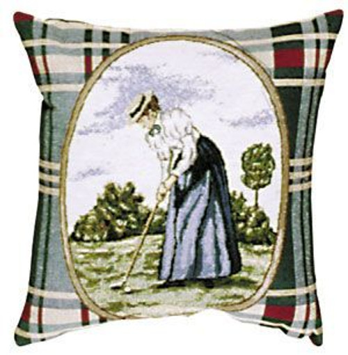 """12"""" Green and Blue Plaid Victorian Lady Golf Tapestry Throw Pillow - IMAGE 1"""
