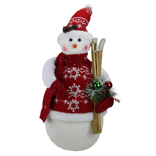 """20"""" Red and White Sparkling Snowman Christmas Figurine - IMAGE 1"""