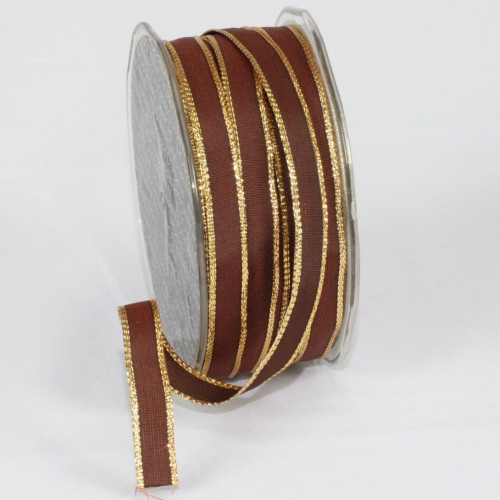 """Chocolate Brown and Gold French Wired Craft Ribbon 0.25"""" x 108 Yards - IMAGE 1"""