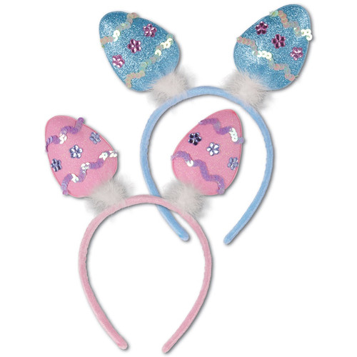 Club Pack of 12 Blue and Pink Easter Egg Bopper Headbands Costume Accessories - IMAGE 1