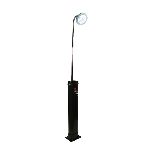7' LED Lighted Black Solar-Powered 85 Liter Poolside Shower Station - IMAGE 1