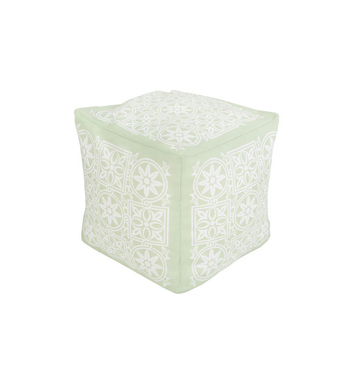 "18"" Celadon and Cream Encompassed Flowers Square Outdoor Patio Pouf Ottoman - IMAGE 1"