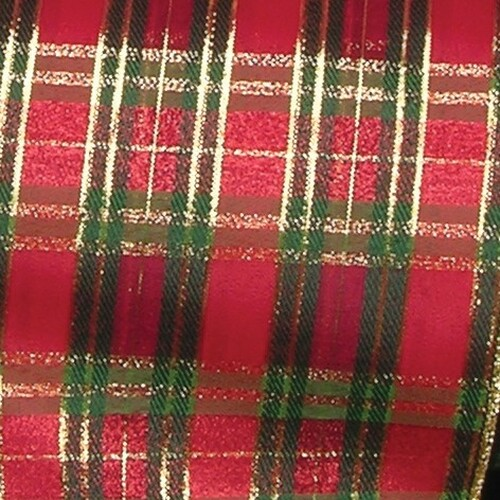 """Red and Green Tartan Christmas Wired Craft Ribbon 6"""" x 20 Yards - IMAGE 1"""