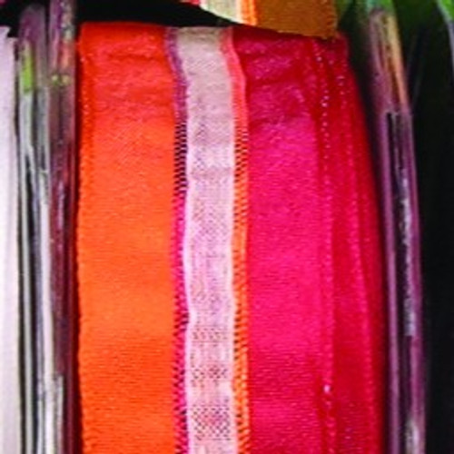"""Sheer Red and Orange Striped Wired Craft Ribbon 0.75"""" x 108 Yards - IMAGE 1"""