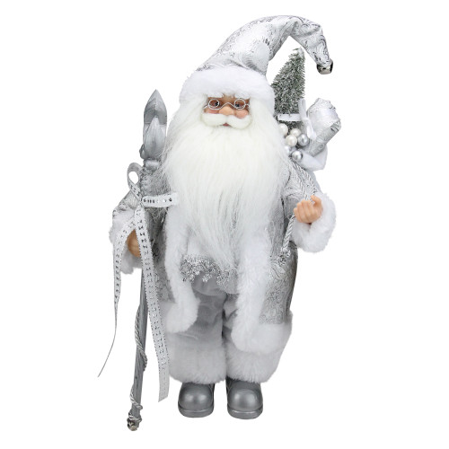 """12"""" White and Silver Santa Claus with Staff and Gift Bag Christmas Figure - IMAGE 1"""