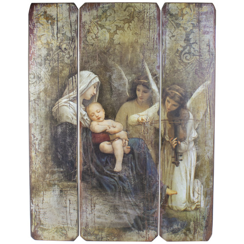 "26"" Joseph's Studio Distressed Antique-Style Song of the Angels Religious Panel Wall Decor - IMAGE 1"