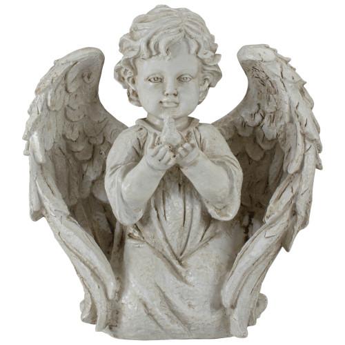 """9.75"""" Ivory Cherub Angel Boy Kneeling with Dove Outdoor Patio Garden Statue - IMAGE 1"""