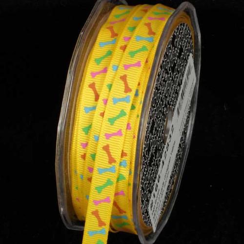 "Vibrant Yellow Inga Bones Grosgrain Craft Ribbon 3/8"" x 54 Yards - IMAGE 1"