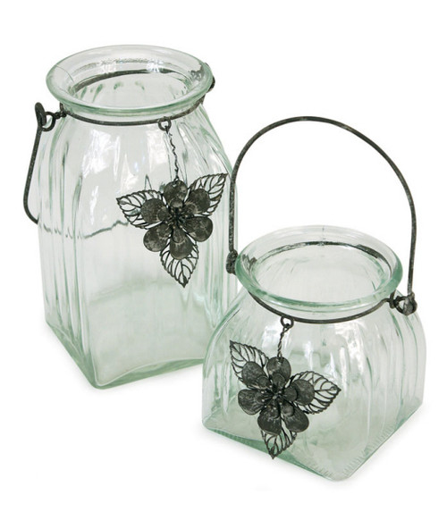 Set of 2 Tea Garden Hanging Glass Jar Pillar Candle Holders with Flower Charm Accents - IMAGE 1