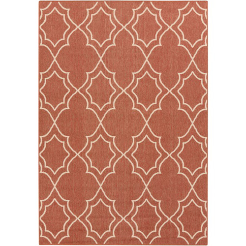 8.75' x 12.75' Red and White Contemporary Rectangular Area Throw Rug - IMAGE 1
