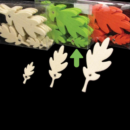 """Club Pack of 144 Lime Green Fuzzy Leaf Decorations 3"""" - IMAGE 1"""