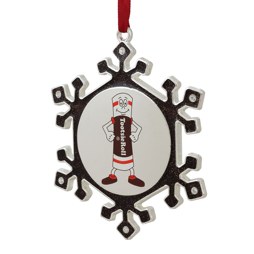 """3.5"""" Silver Plated Snowflake Toostie Roll Man Candy Logo Christmas Ornament - IMAGE 1"""