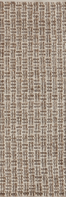 2.5' x 8 Transitional Geometric Brown and Beige Hand Woven Rectangular Wool Area Throw Rug Runner - IMAGE 1