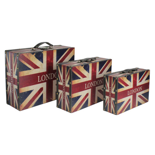 "Set of 3 Rustic British Flag Decorative Wooden Storage Boxes 16"" - IMAGE 1"