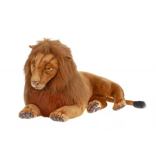 """39.25"""" Brown Handcrafted Extra Soft Plush Laying Lion Stuffed Animal - IMAGE 1"""