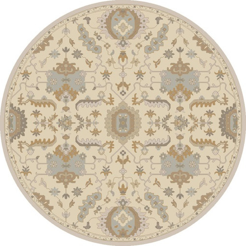 8' Ivory White and Olive Green Round Wool Area Throw Rug - IMAGE 1