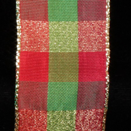 """Red and Green Checkered Wire Craft Ribbon 1.5"""" x 27 Yards - IMAGE 1"""