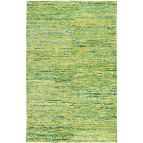 8' x 11' Green and Yellow Hand Knotted Area Throw Rug - IMAGE 1