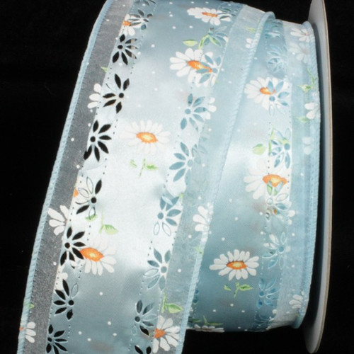 "Blue and White Embossed Marguerite Wired Craft Ribbon 2.5"" x 20 Yards - IMAGE 1"