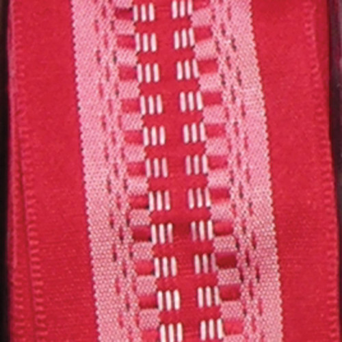 """Red and Pink Woven Wired Craft Ribbon 1.5"""" x 54 Yards - IMAGE 1"""