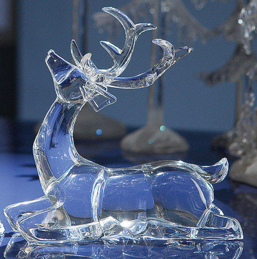 "Set of 4 Clear Icy Sitting Deer Figurines 7.5"" - IMAGE 1"