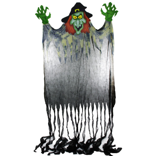 11' Green and Black Witch with Hands Hanging Halloween Figurine - IMAGE 1