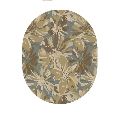 6' x 9' Floral Beige and Blue Hand Tufted Contemporary Oval Wool Area Throw Rug - IMAGE 1