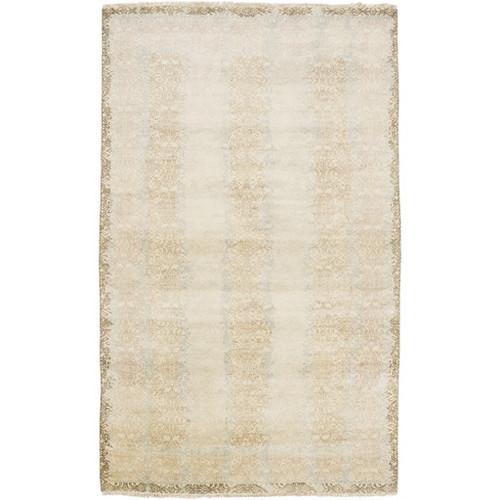 5.5' x 8.5' Faded Columns Beige and Gray Hand Knotted Rectangular New Zealand Wool Area Throw Rug - IMAGE 1