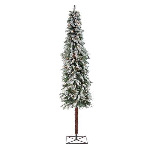 7' Pre-Lit Green Pencil Flocked Alpine Artificial Christmas Tree - Clear Lights - IMAGE 1